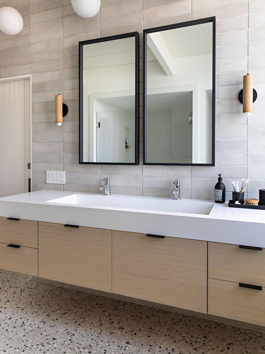 neutral bathroom with terrazzo floors