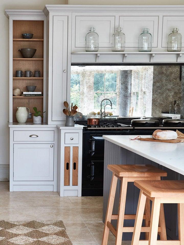 grey kitchen with checkerboard floor