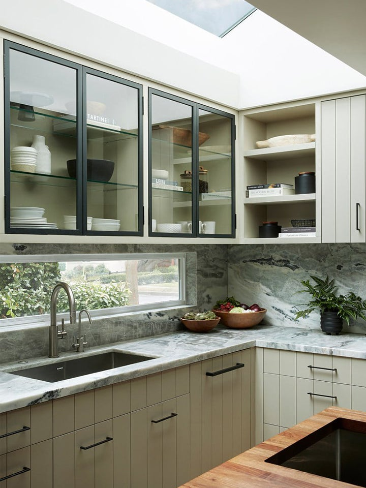grey beaded cabinets in kitchen