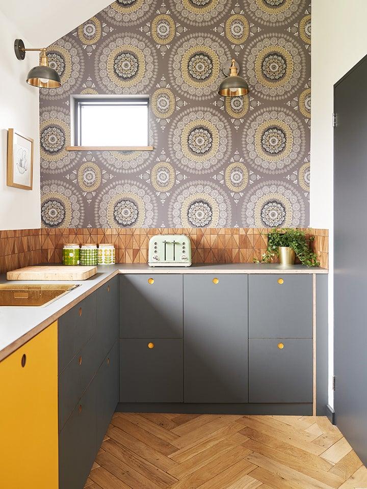 yellow and grey modern kitchen