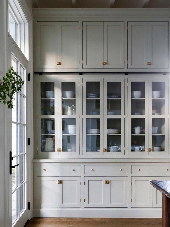grey glass kitchen cabinets