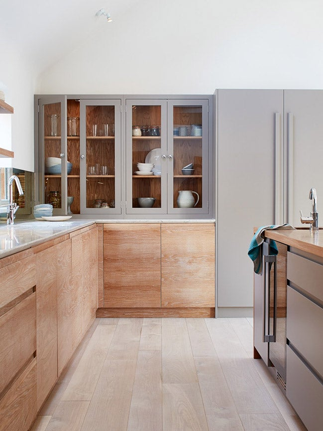 grey and wood kitchen