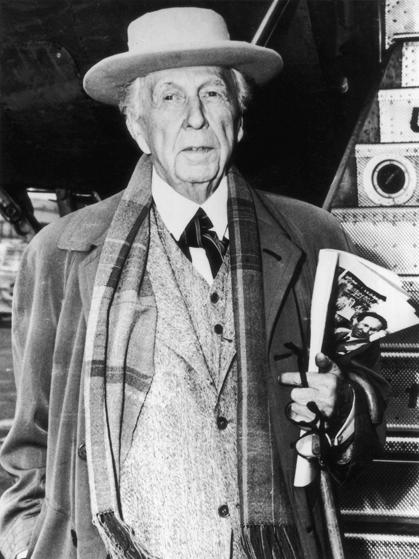 black and white portrait of frank lloyd wright