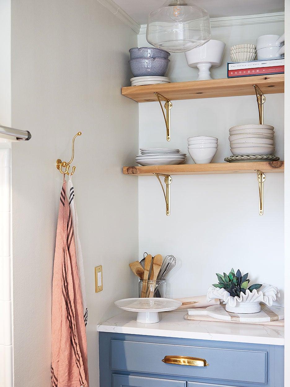kitchen shelves and brass hardware