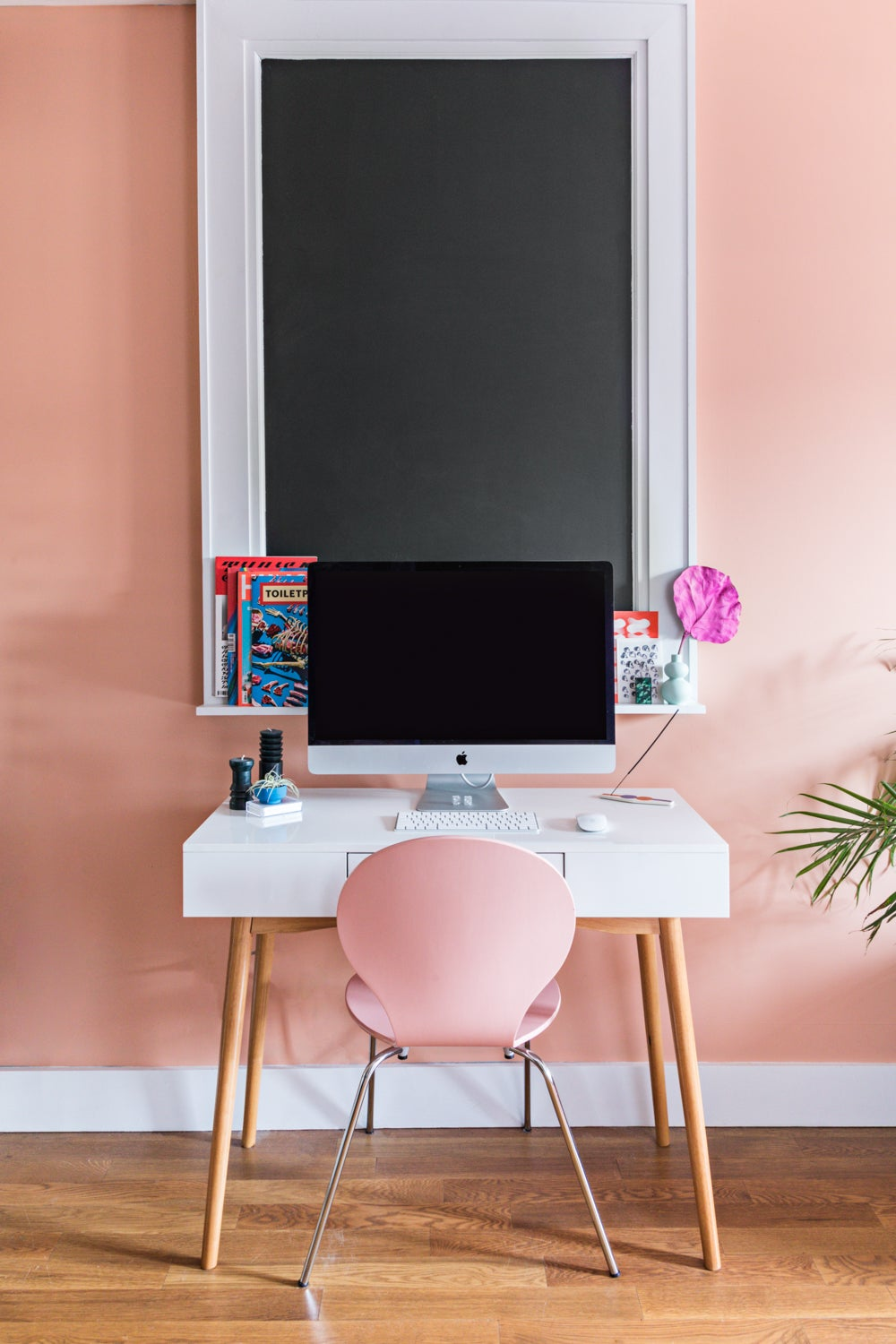 Pink room with desk