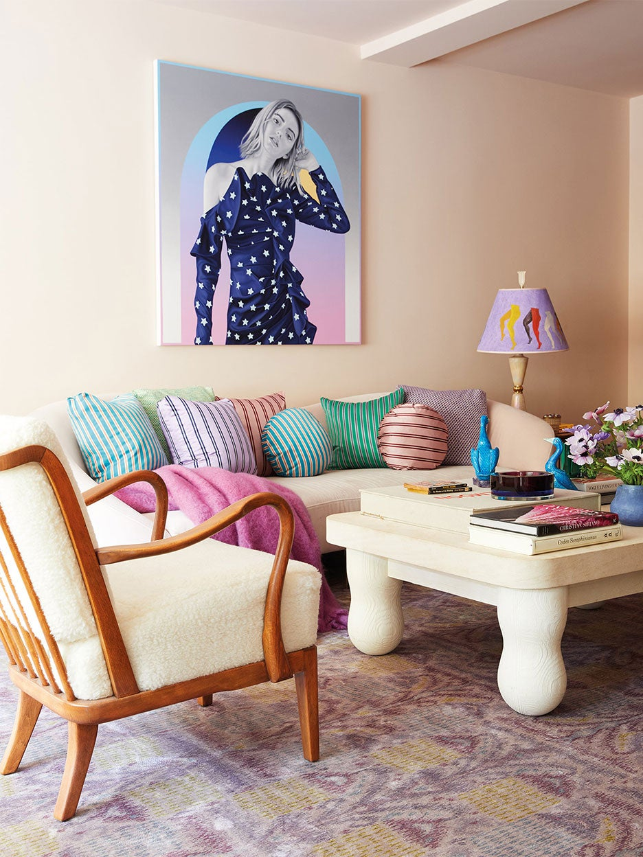 pink and purple living room