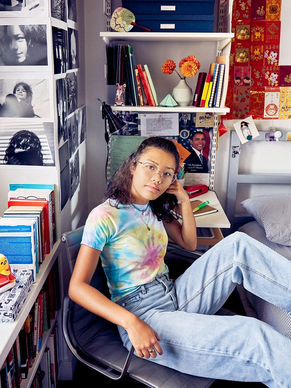portrait of teen in bedroom