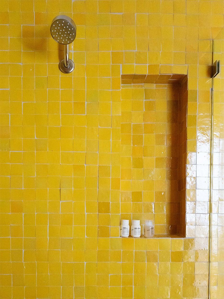 yellow zellige tile shower nook