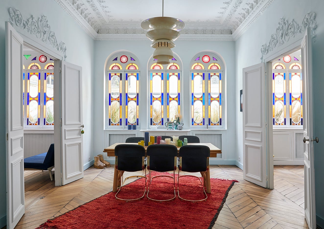 Stained glass windows in a Paris apartment