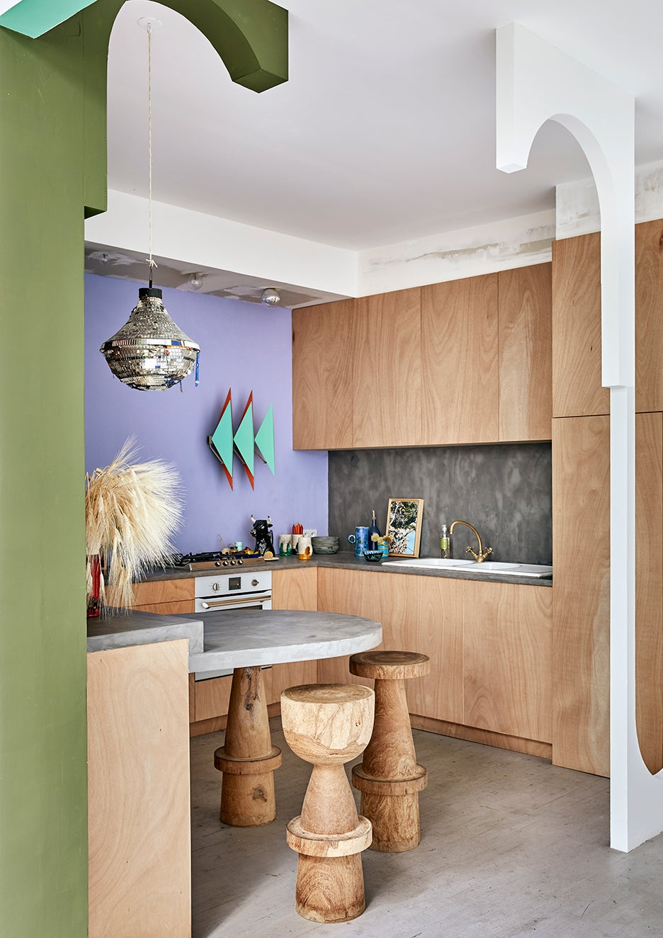 Lilac, wood and concrete kitchen