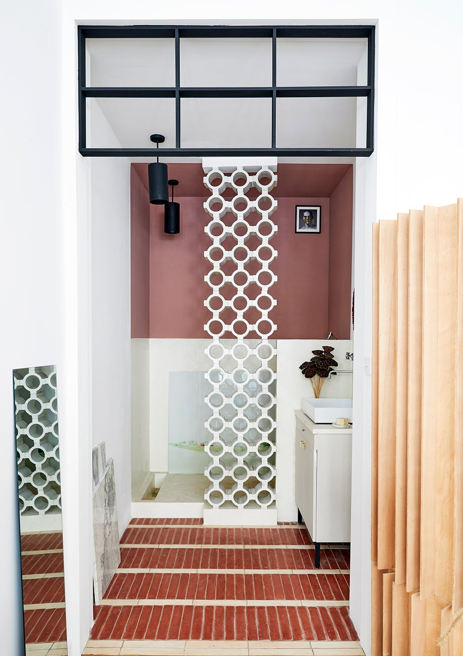 Dusty pink and white bathroom