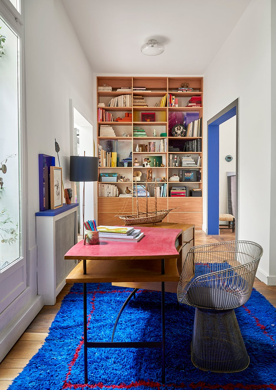 Blue rug in home office