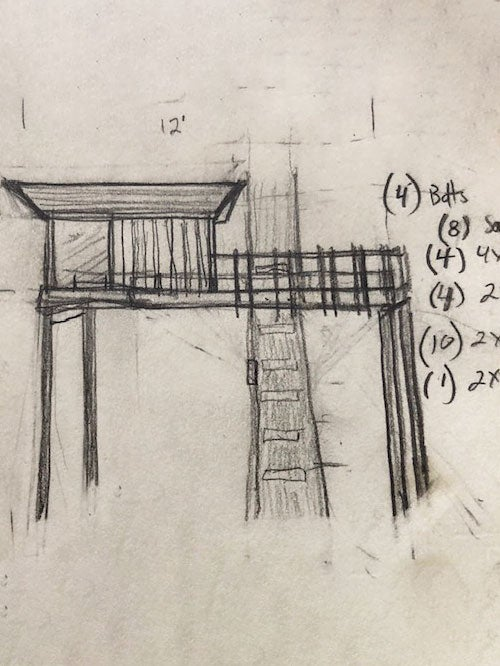 drawing of a treehouse