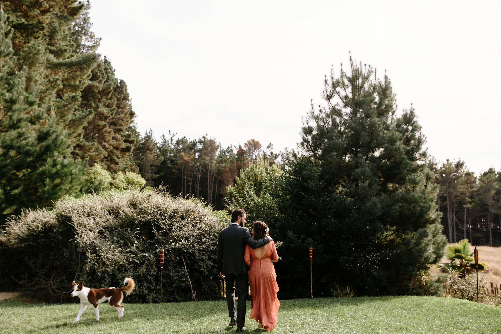 bride and groom on a lawn