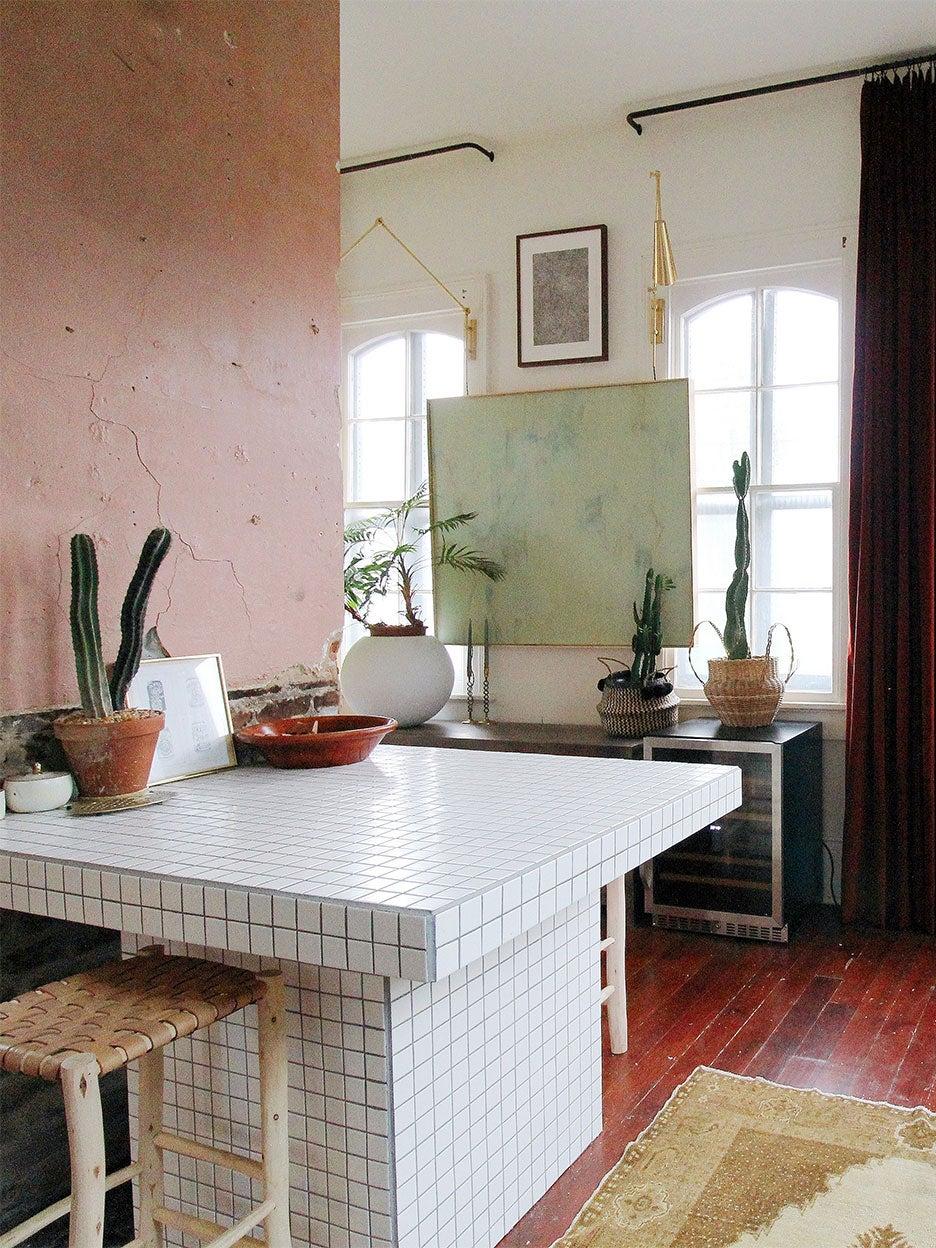 White square tile kitchen island