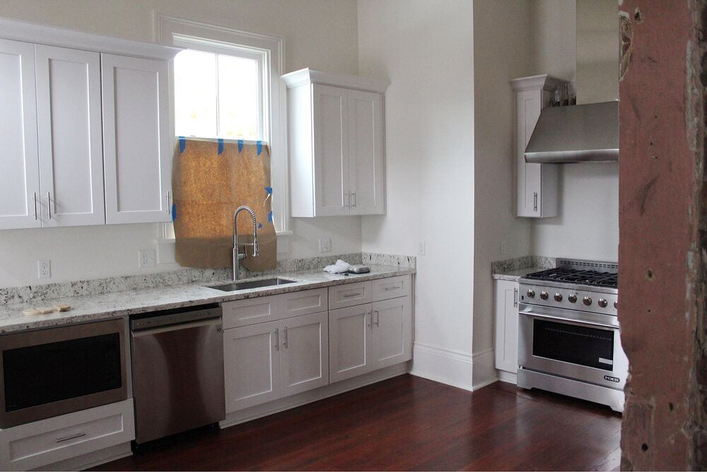 All-white kitchen before