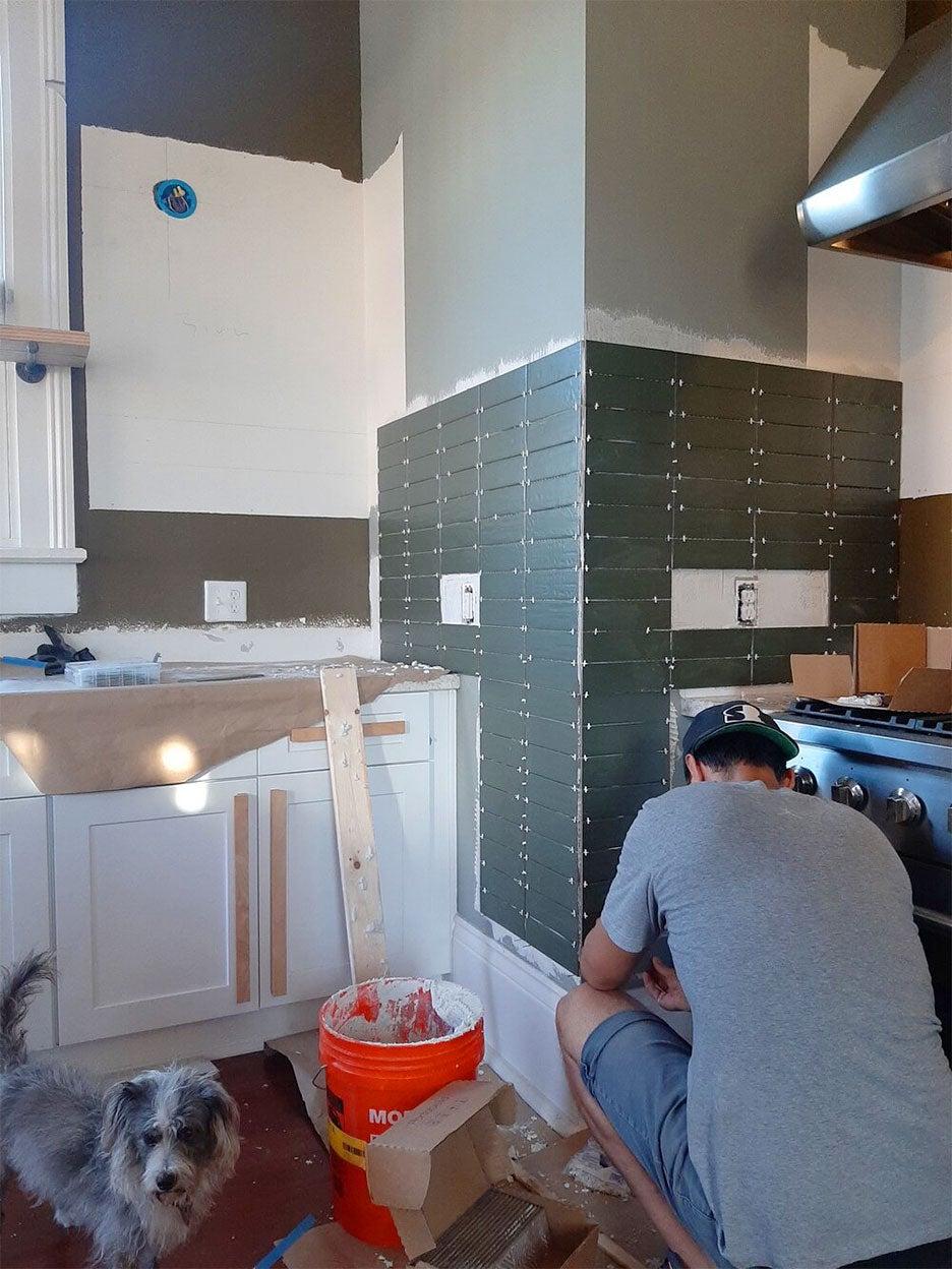 Liz Karamul kitchen during tiling