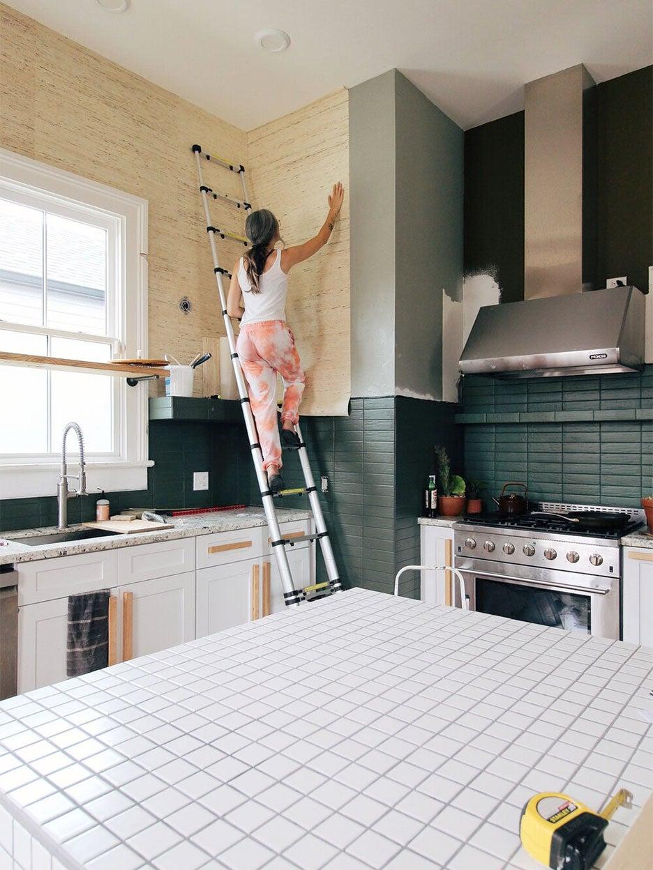 Wallpaper installation in Liz Karamul's kitchen