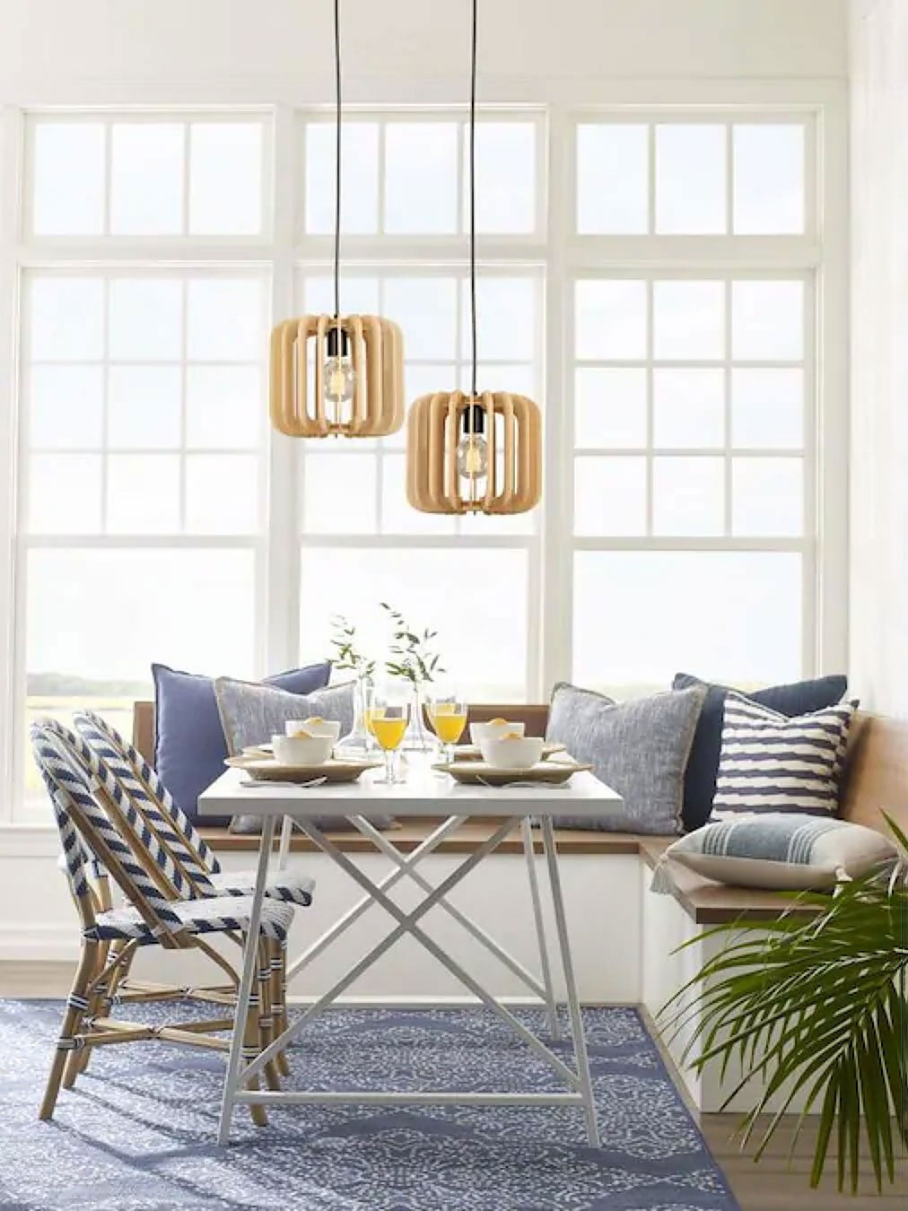 dining room with pendant lights over table
