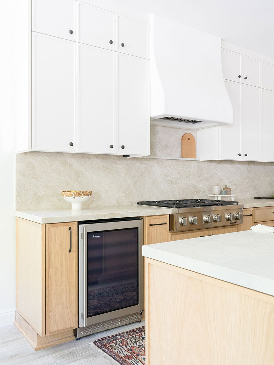 white and wood cabinets