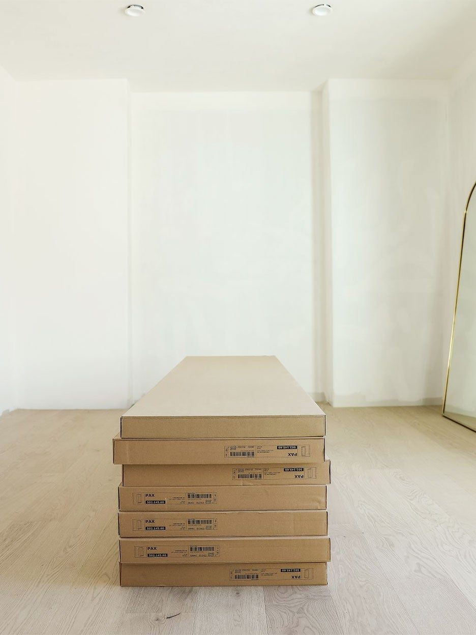 IKEA boxes in empty room