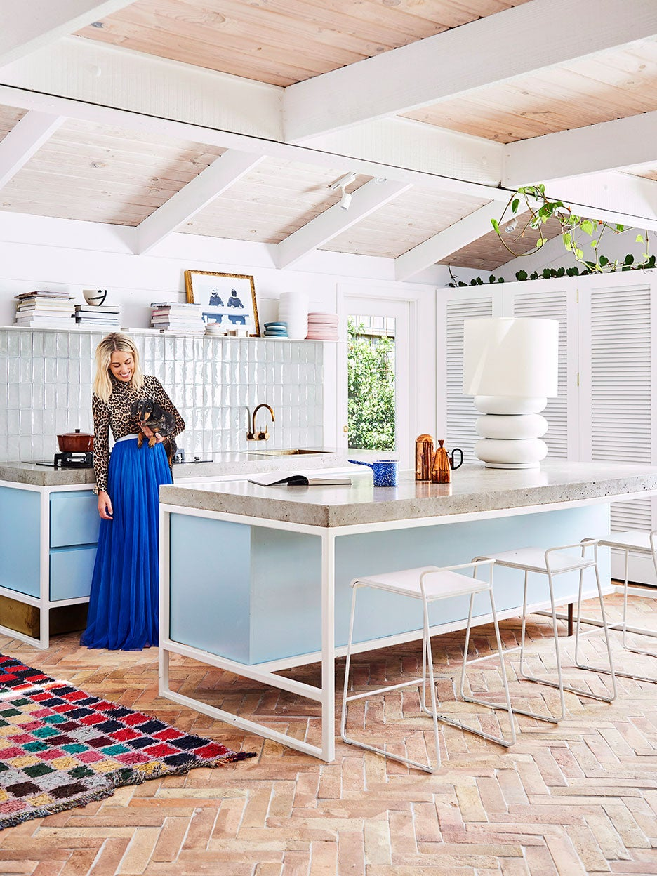 Kitchen with baby blue cabinets