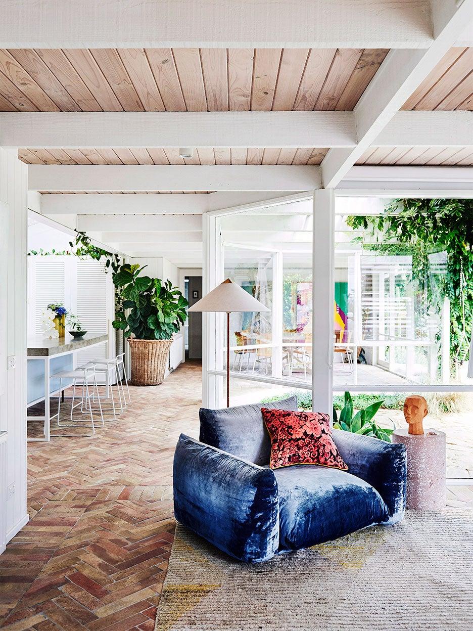 Blue velvet chair in living room