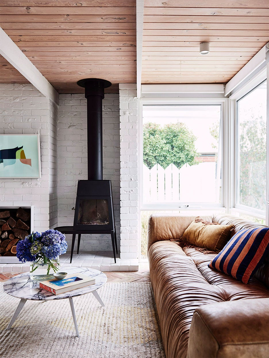 Midcentury wood stove in living room