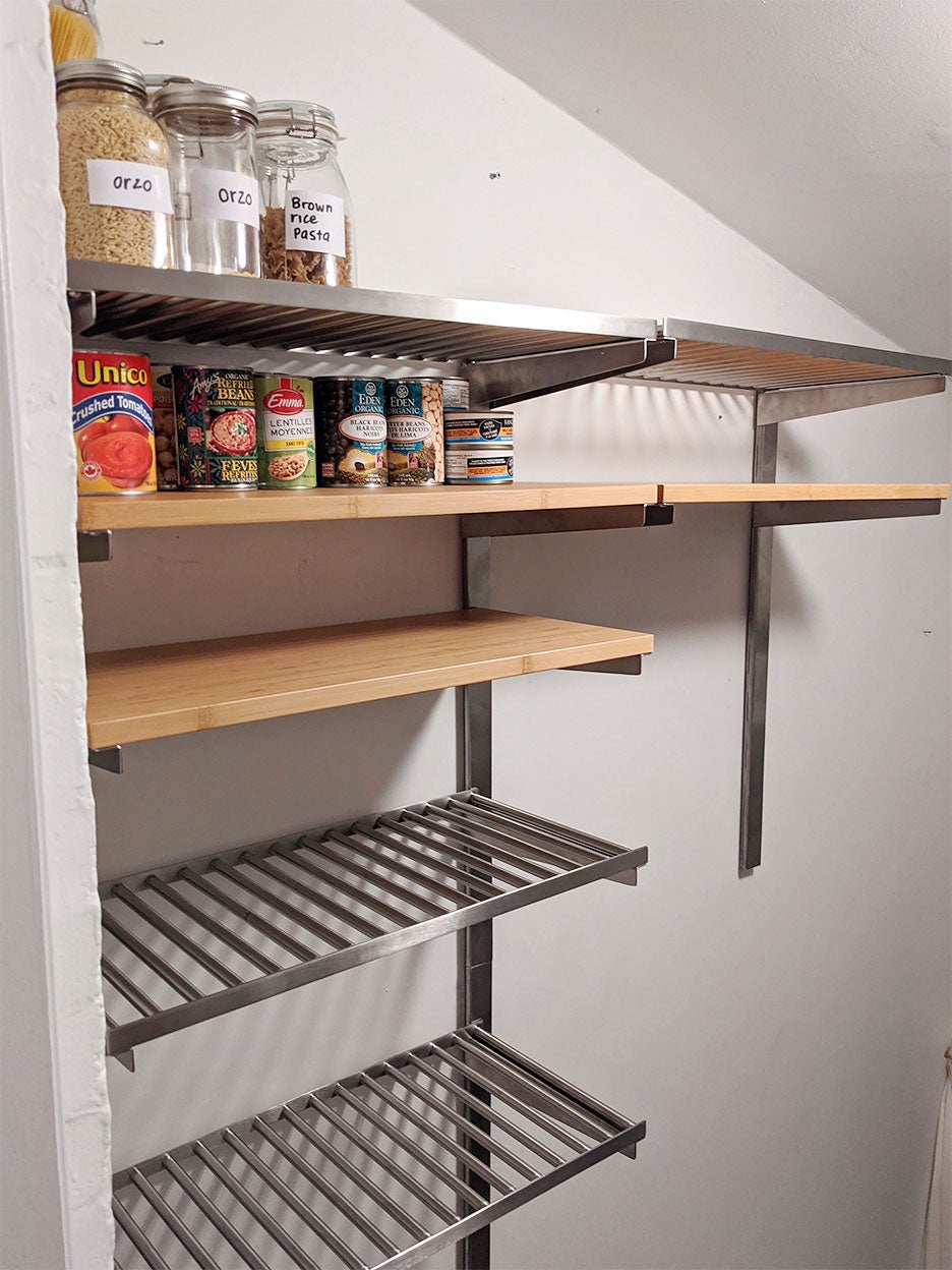 shelves partially installed