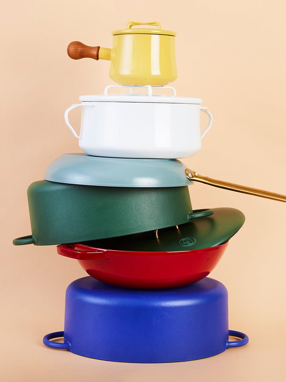 colorful pots and pans