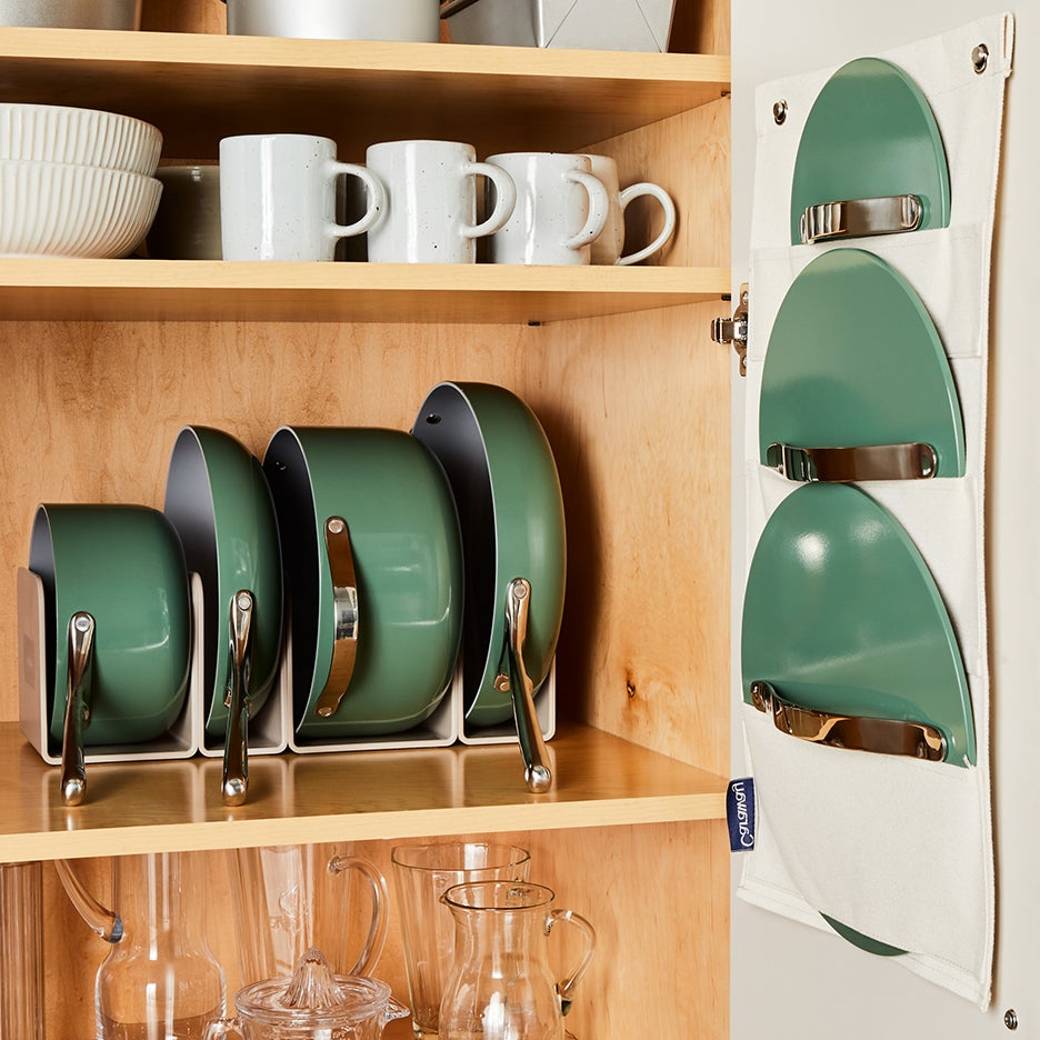 green pots and pans