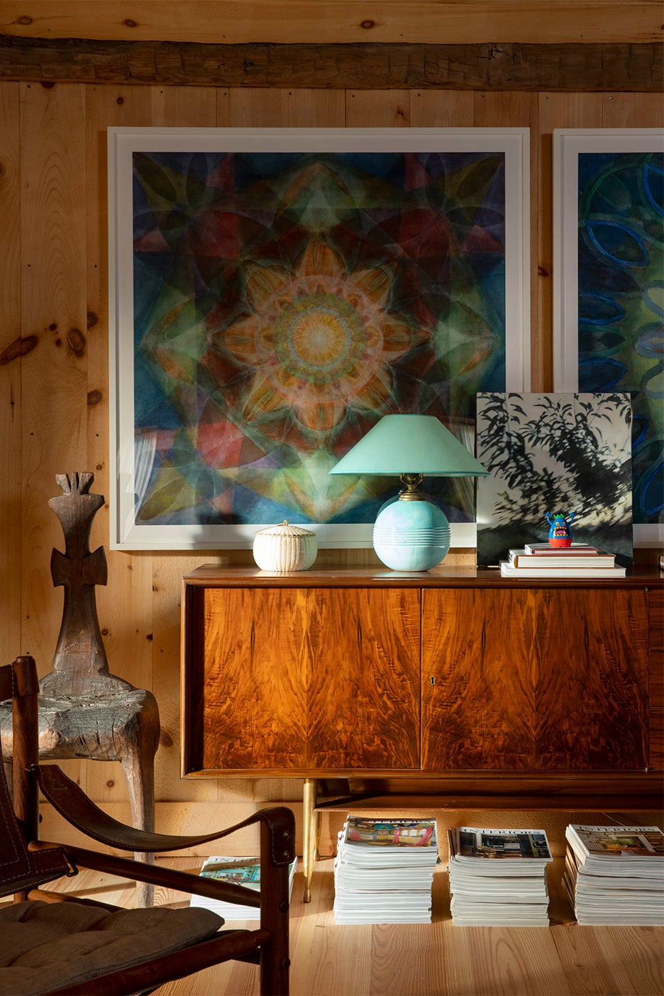 Mid-century credenza with turquoise lamp