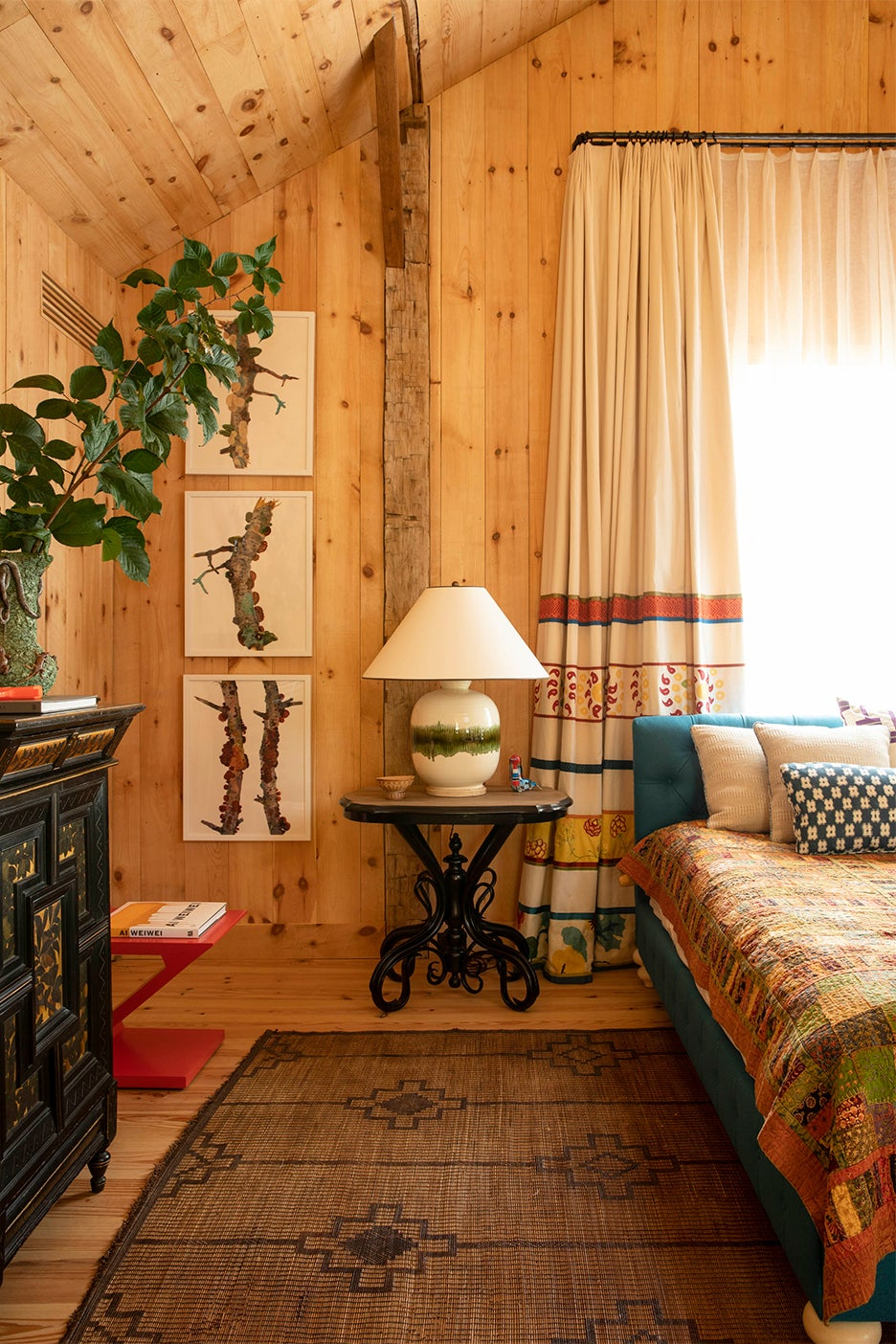 Wood-paneled bedroom