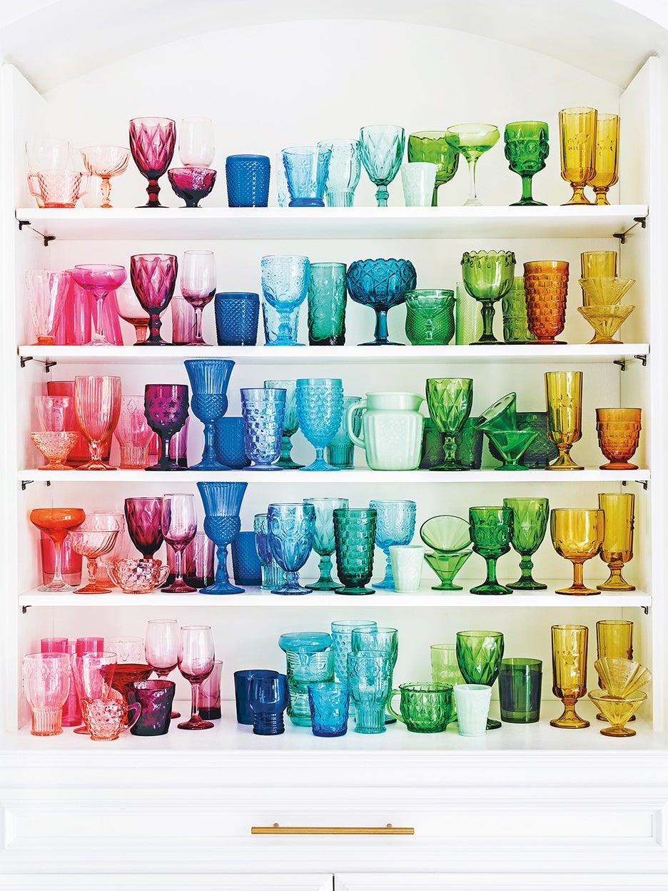 colorful glassware in shelves