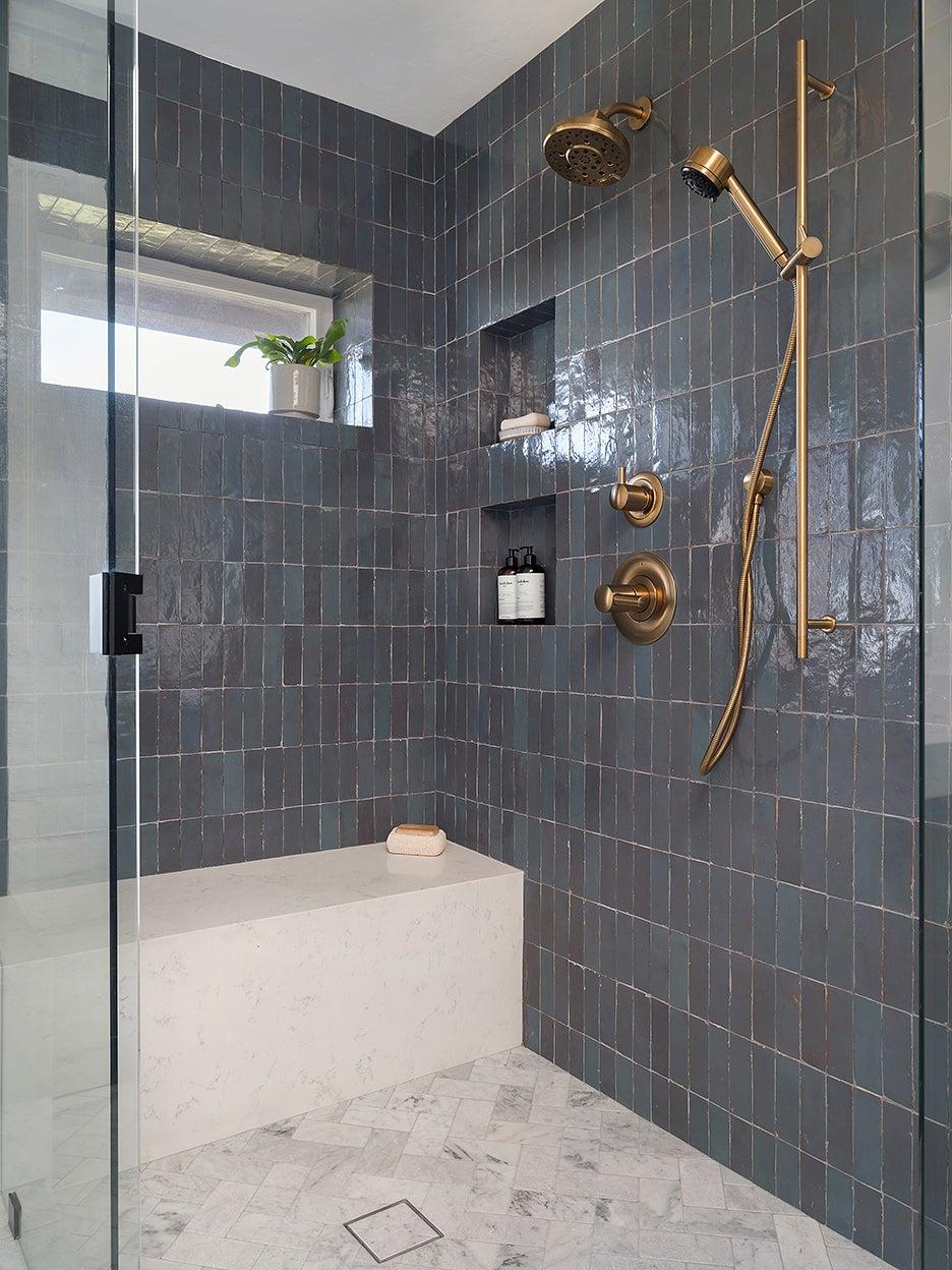 dark gray zellige shower nook