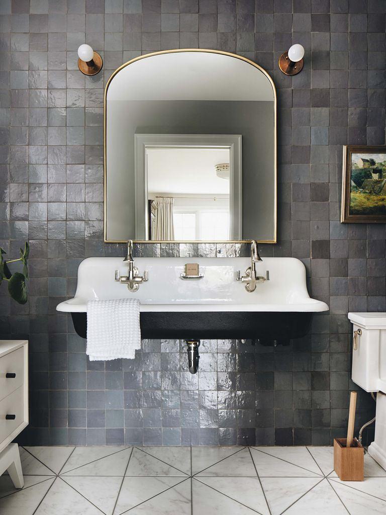 grey zellige bathroom walls with farmhouse sink