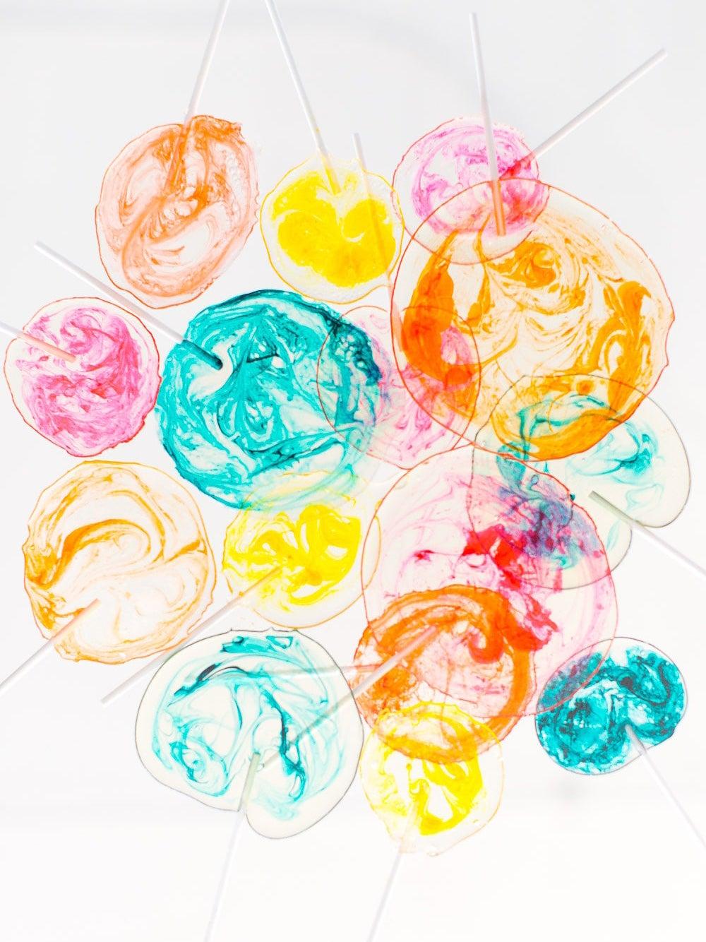 swirly colorful lollipops