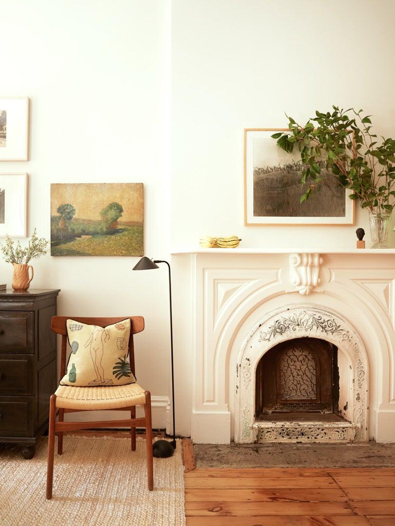 Victorian fireplace in Brooklyn brownstone