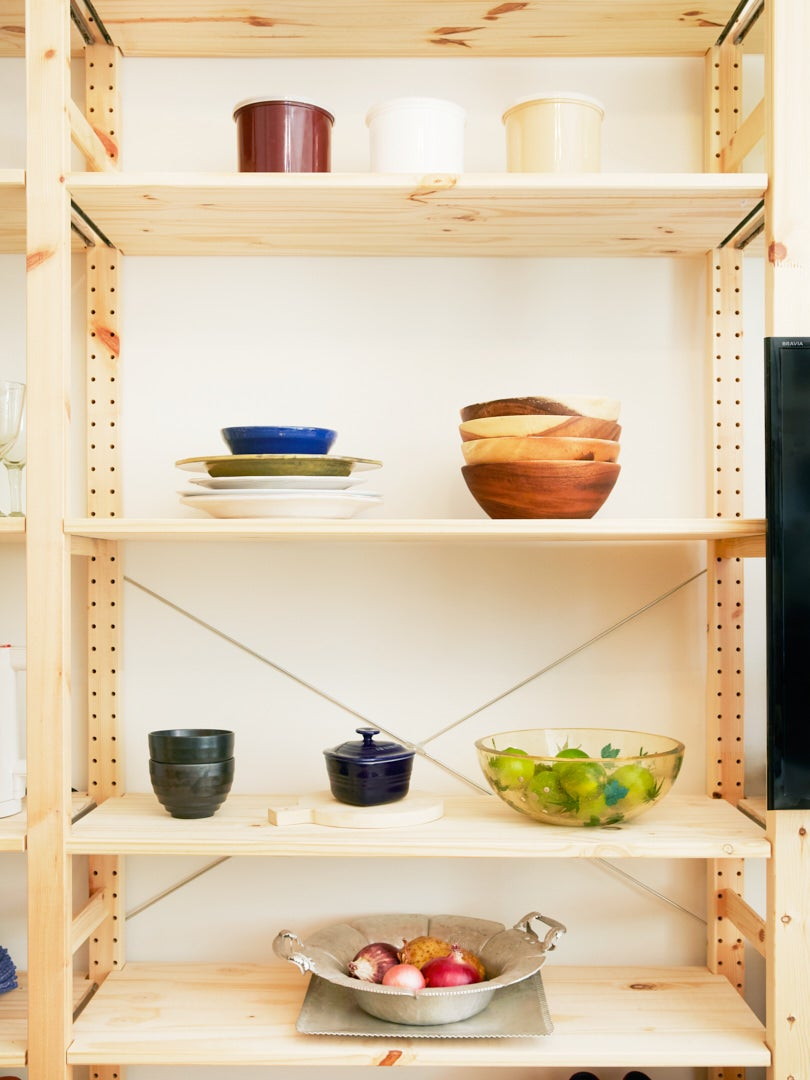 IKEA Ivar bookshelf with kitchen items