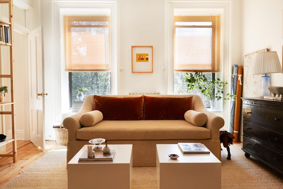 Corduroy sofa in Brooklyn apartment