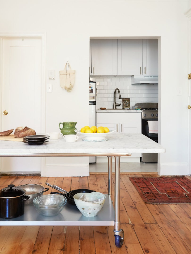 Tiny kitchen in Brooklyn brownstone apartment