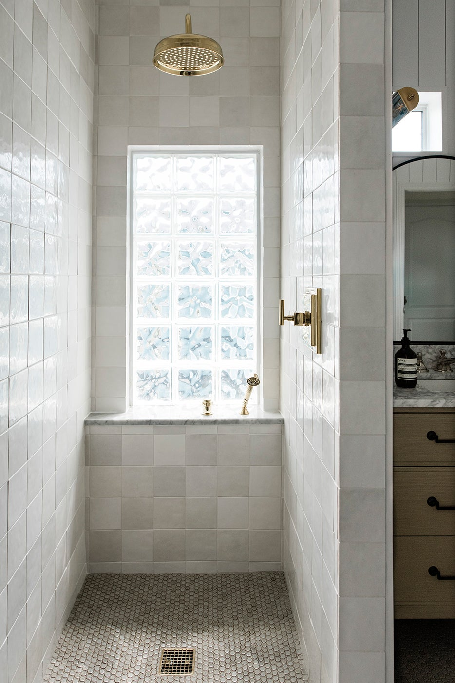 block window in shower