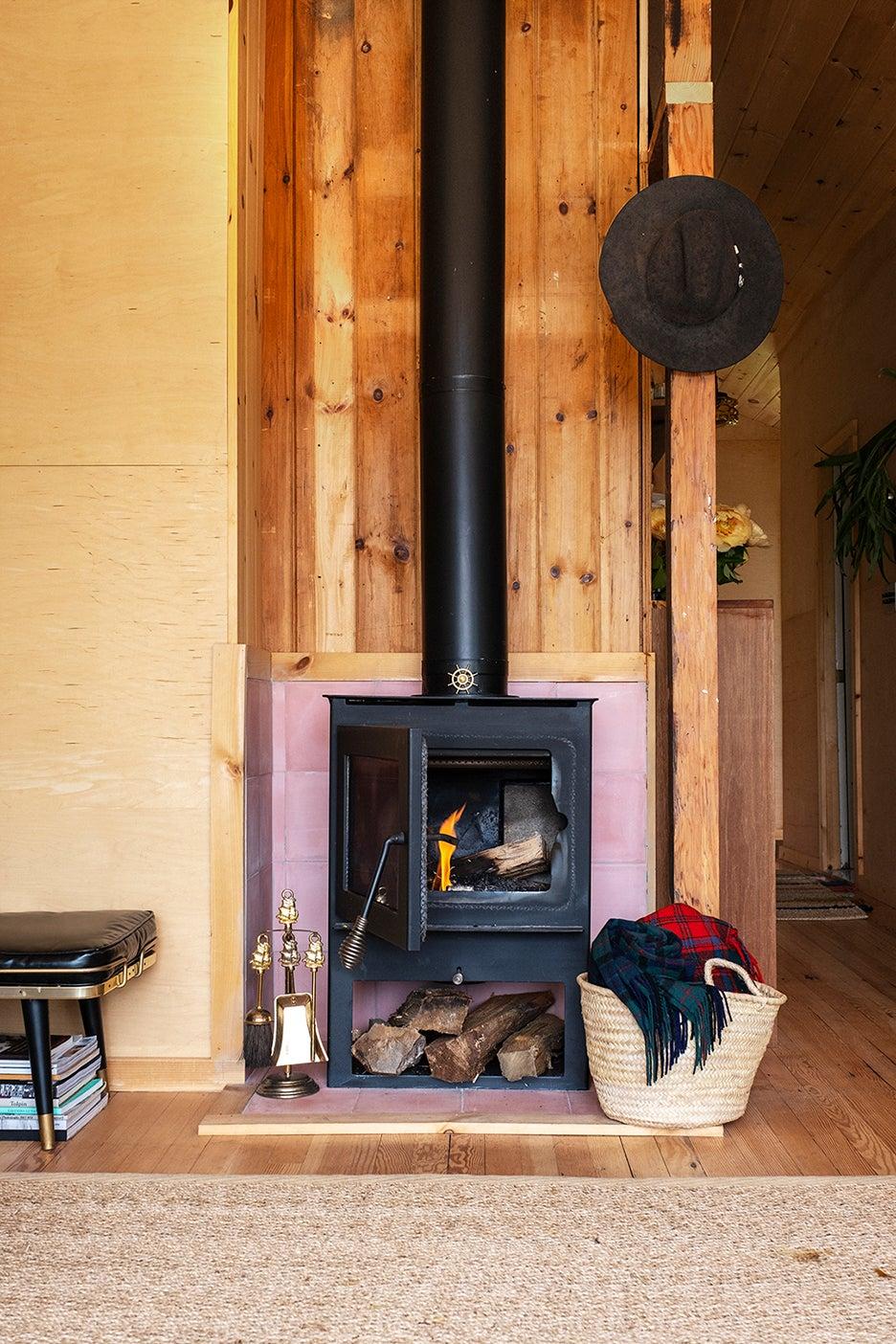 pink fireplace surround