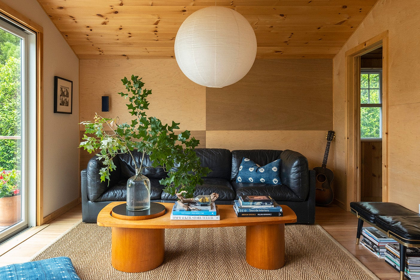 checkered living room wall