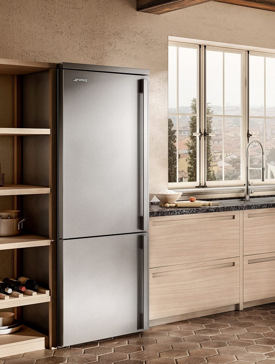 fridge in a wood kitchen