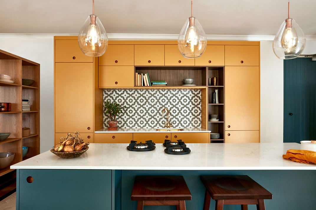 green and organe cabinets