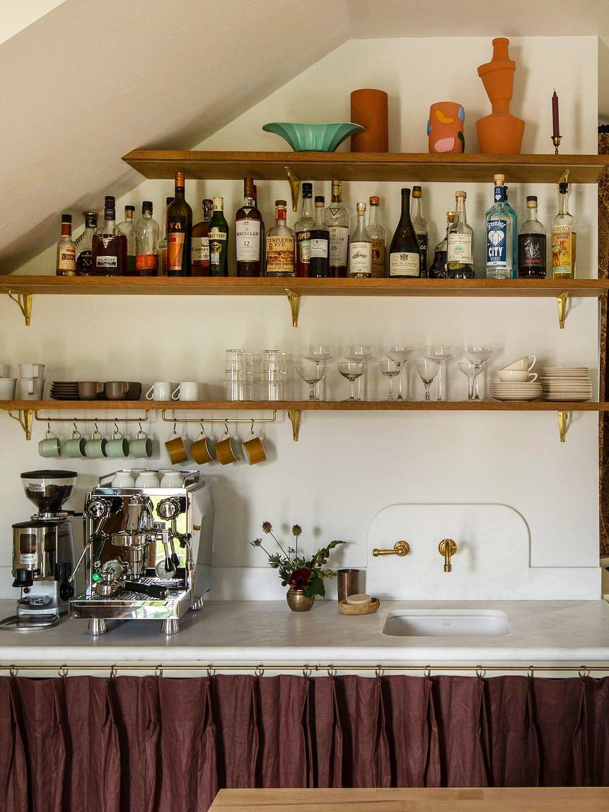 Coffee bar with sink skirt