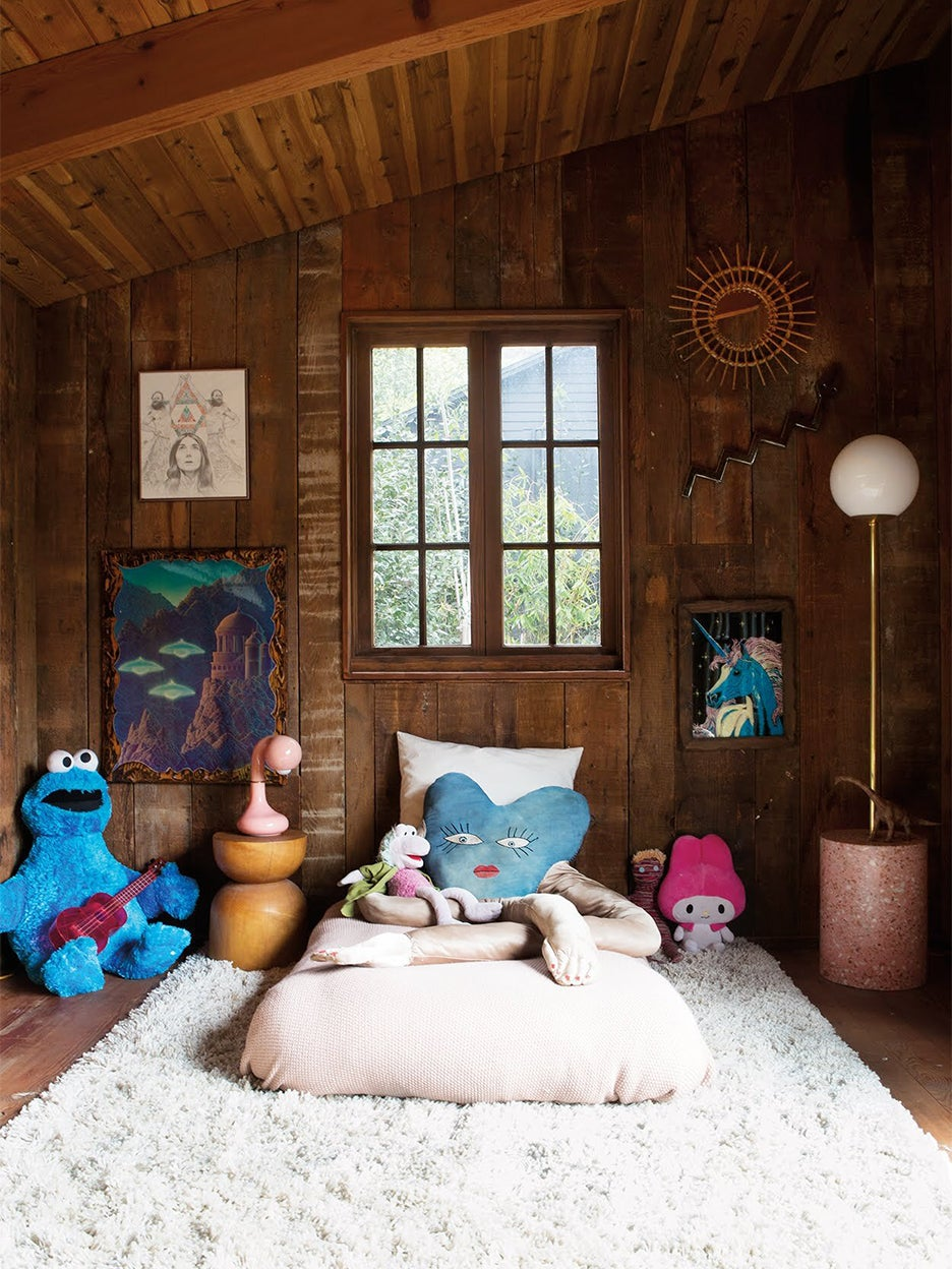 Kids room with low bed and heart pillow