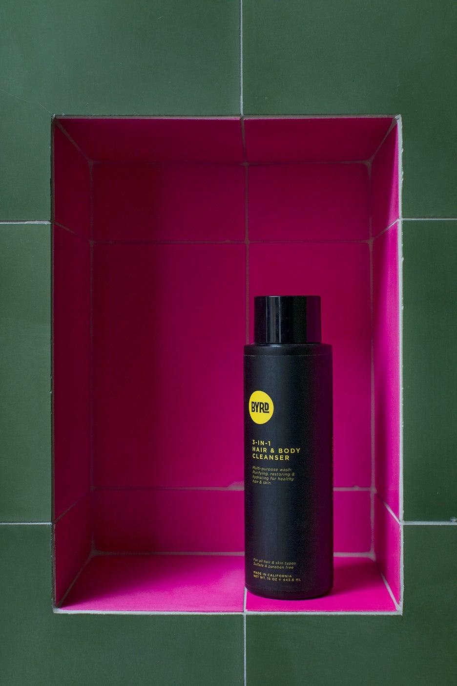 hot pink shower tile niche