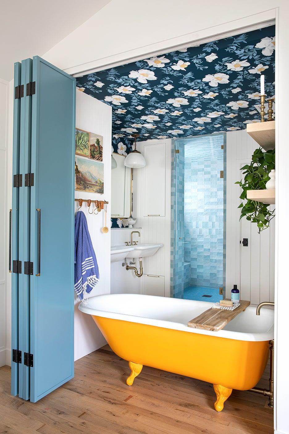 orang tub in blue bathroom